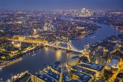 Лондон, Англия - воздушный взгляд горизонта Лондона Это inclu взгляда Стоковое Фото
