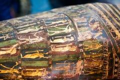 29 07 2015, ЛОНДОН, Великобритания, ВЕЛИКОБРИТАНСКИЙ МУЗЕЙ - египетские гробы Стоковые Фото