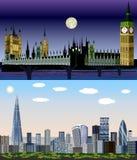 Лондон, Великобритания, Европа - день к набору вектора ночи бесплатная иллюстрация