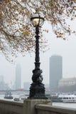 ЛОНДОН, ВЕЛИКОБРИТАНИЯ - 23-ЬЕ НОЯБРЯ 2018: Туманный Взгляд Темза и старого уличного света стоковые фото