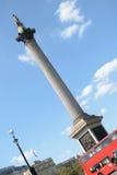 Лондон, Англия - 30-ое августа 2016: Столбец Нельсона в квадрате Trafalgar Стоковая Фотография RF