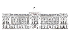 Лондон Букингемский дворец Известные здания предпосылки Лондона, перемещения и дела иллюстрация штока
