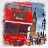 Лондон в стиле акварели Стоковое Изображение