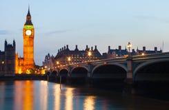 Лондон на ноче Стоковое Изображение