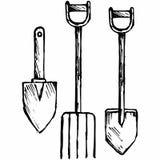 Лопата и вила, лопата штифта иллюстрация вектора