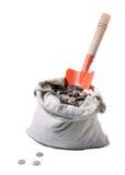 лопата красного цвета дег холстины мешка Стоковое фото RF