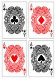 лопата сердца диаманта 4 клуба тузов Стоковая Фотография