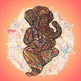 Лорд Ganesha на индийской предпосылке мандалы Азиатская картина с листьями и цветками Печать стиля йоги Цветастый вектор Стоковое Фото