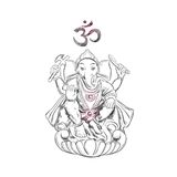 Лорд Ganesha hinduism Символ процветания и препятствий преодолевать иллюстратор иллюстрации руки чертежа угля щетки нарисованный  Стоковые Фото