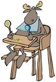 Лоси младенца в высоком стульчике Стоковое Изображение RF