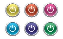 Лоснистая кнопка силы Стоковое Изображение RF