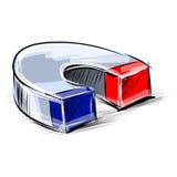 Лоснистая отполированная иллюстрация вектора эскиза магнита Стоковое Изображение
