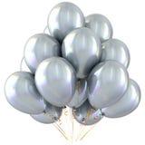 Лоснистое белого украшения партии воздушных шаров с днем рождения яркое Стоковое фото RF
