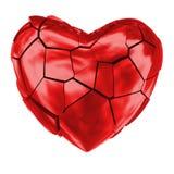 Лоснистое красное разбитый сердце Стоковые Фотографии RF