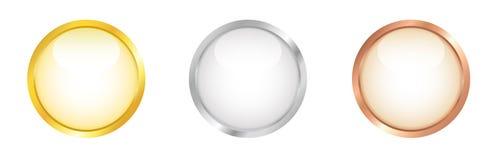 Белые круглые кнопки с золотистой, серебряной и бронзовой границей. Стоковые Изображения RF