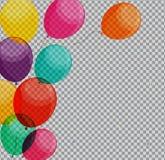 Лоснистые воздушные шары с днем рождений на прозрачном векторе предпосылки бесплатная иллюстрация