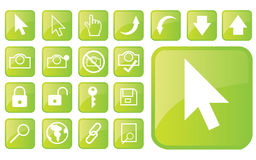 лоснистые зеленые иконы part1 Стоковые Изображения