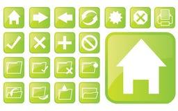 лоснистые зеленые иконы part2 Стоковые Фотографии RF