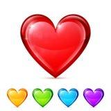 Лоснистые значки сердца Стоковая Фотография