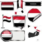 Лоснистые значки с флагом Йемена Стоковое фото RF