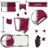 Лоснистые значки с флагом Катара Стоковое фото RF