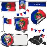Лоснистые значки с флагом Парижа Стоковое фото RF