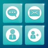 Лоснистые значки для социальных сетей и почтовых ящиков Стоковые Изображения RF