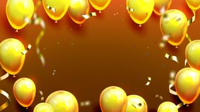 Лоснистые золотые воздушные шары и вектор плаката Confetti иллюстрация штока