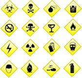 лоснистые иконы опасности стоковые фото