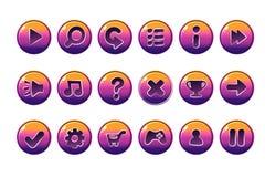 Лоснистые кнопки для всех видов вскользь, элементов шаржей для имуществ игр иллюстрация вектора
