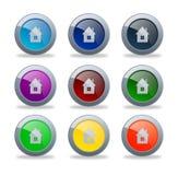 Лоснистые домашние кнопки Стоковые Изображения