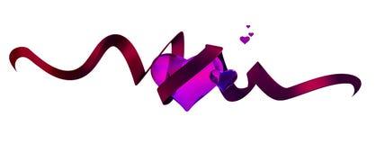 Лоснистые розовые сердца иллюстрация вектора