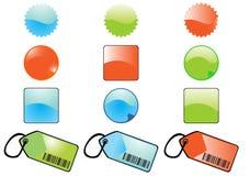 Лоснистые buttons&tags Стоковые Изображения RF