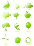 лоснистый зеленый комплект иконы Стоковое Фото