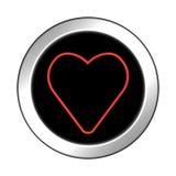 Лоснистый значок с сердцем перевод 3d Стоковое Изображение RF