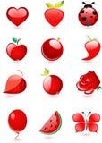 лоснистый комплект красного цвета иконы Стоковые Изображения RF