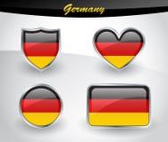Лоснистый комплект значка флага Германии Стоковые Изображения RF