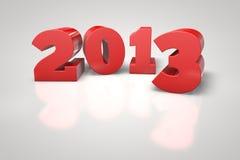Лоснистый красный цвет 3D 2013 на белой отражая предпосылке Стоковые Фото