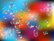 Лоснистый реалистический и просвечивающий пузырь мыла с накалять сверкнает иллюстрация на светлой предпосылке иллюстрация вектора