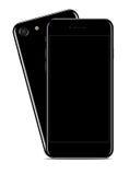 Лоснистый черный Smartphone на белизне Стоковая Фотография