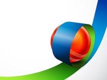 Лоснистый шарик в нашивке для концепции спорт сверчка Стоковое фото RF