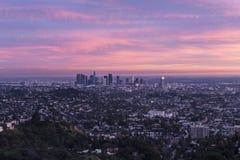 Лос-Анджелес Калифорния после захода солнца Стоковое Изображение RF