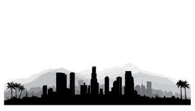Лос-Анджелес, горизонт США Силуэт города с buildi небоскреба Стоковые Фотографии RF