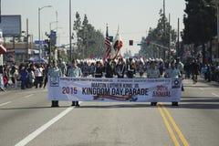 Лос-Анджелес, Калифорния, США, 19-ое января 2015, 30-ый ежегодный младший Мартин Лютер Кинга Парад дня королевства, знамя парада Стоковое фото RF