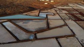 Лотки соли, укладка в форме Salinas De Janubio Лансароте сток-видео