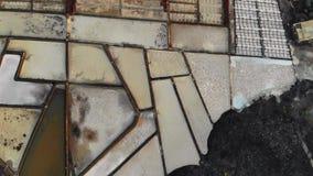 Лотки соли, укладка в форме Salinas De Janubio Лансароте акции видеоматериалы