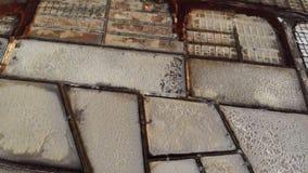 Лотки соли, укладка в форме Salinas De Janubio Лансароте видеоматериал
