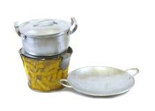 Лоток бака и олово плиты забавляются на белой предпосылке Стоковые Изображения