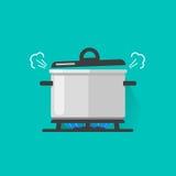 Лоток с паром на огне газовой плиты варя некоторую кипя кастрюльку иллюстрации вектора еды изолированную, плоскую шаржа и иллюстрация вектора