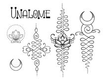 Лотос и священная геометрия Символ Unamole индусский премудрости и PA иллюстрация вектора